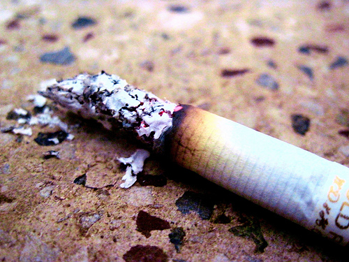 cigarette smoking ashes