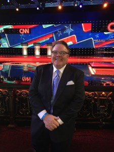 California Political Review Publisher Jim Lacy before start of CNN Presidential debate, Venetian Hotel, Las Vegas, 12/15/15.