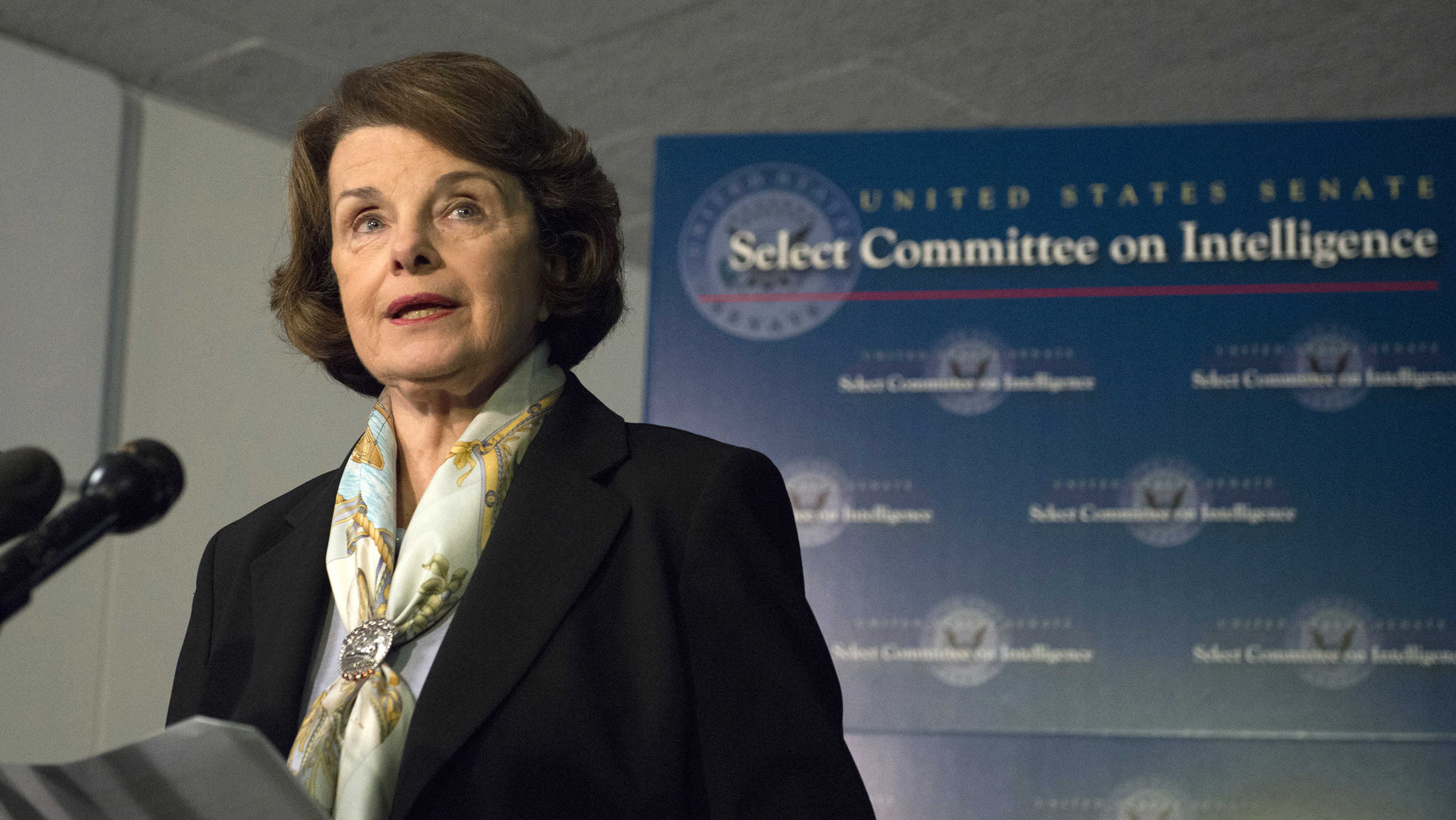 Senate Intelligence Committee Chairwoman Dianne Feinstein, D-Calif., speaks after a closed-door meeting Thursday on Capitol Hill. The panel voted to approve declassifying part of a report on Bush-era interrogations of terrorism suspects.