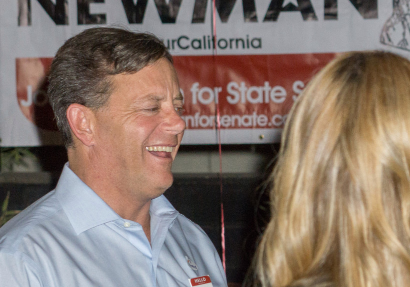 Candidate for the US Senate Josh Newman speaks with supporters at his campaign rally Tuesday at Yardhouse in Brea.  - ADDITIONAL INFO/// - ROD VEAL/CONTRIBUTING PHOTOGRAPHER - 110916.Elex.Senate29 - 11/8/16 -  Candidate for the US Senate Josh Newman hangs out at his campaign rally Tuesday at Yardhouse in Brea.