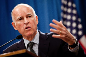 SACRAMENTO, CA - OCTOBER 27: California Governor Jerry Brown announces his public employee pension reform plan October 27, 2011 at the State Capitol in Sacramento, California. Gov. Brown proposed 12 major reforms for state and local pension systems that he claims would end abuses and reduce taypayer costs by billions of dollars. (Photo by Max Whittaker/Getty Images)