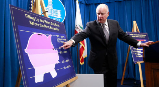 California Gov. Jerry Brown points to a chart showing the growth of the state's Rainy Day fund as as he discusses his proposed 2018-19 state budget at a news conference Wednesday, Jan. 10, 2018, in Sacramento, Calif. Brown proposed a $131.7 billion state spending plan, dedicating $5 billion toward the fund. (AP Photo/Rich Pedroncelli)