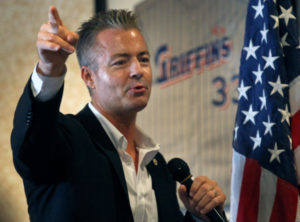 Assemblyman Travis Allen, R-Huntington Beach, addresses the breakfast meeting of the Los Alamitos Chamber on Friday August 4, 2017. Allen will be running for governor and is leading an initiative drive to put a measure on the ballot repealing the road improvement/gas tax measure recently approved by the Legislature. He is speaking at Griffins Grill in Los Alamitos. (Photo by Karen Tapia, Contributing Photographer)