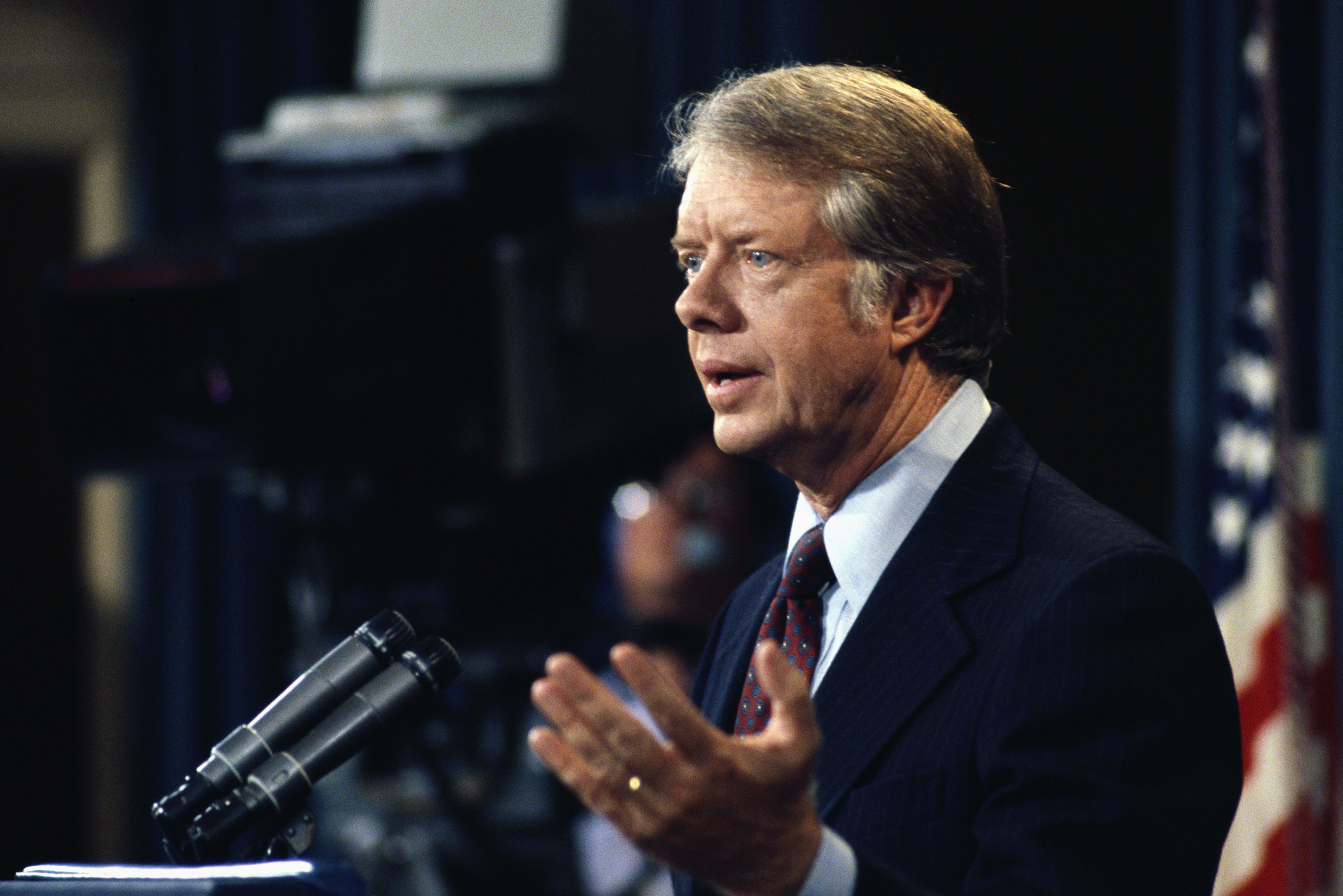 September 1977, Washington, DC, USA --- President Carter Speaking at Press Conference --- Image by © Wally McNamee/CORBIS